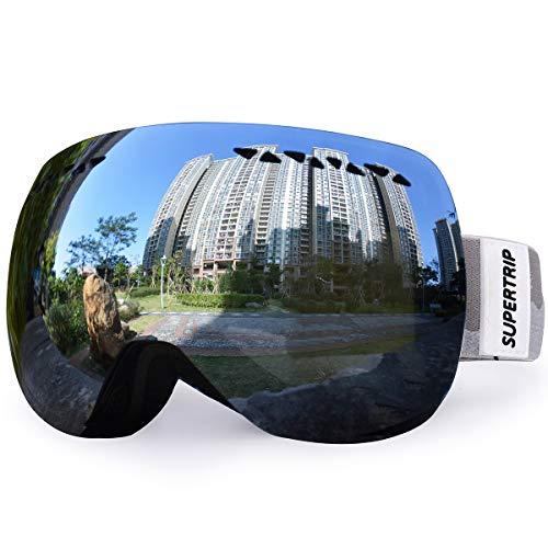 Supertrip Skibrille Damen Herren Snowboardbrille verspiegelt Ski-Schutzbrillen 100% UV400 schutz für Brillenträger Antifog (Schwarz Gespiegelt (VLT 16%))
