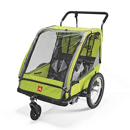 Allen Sports Unisex-Adult ES2-G Fahrradanhänger für 2 Kinder, Multifunktion zum Radfahren und Spazieren, Greun, 2-Child