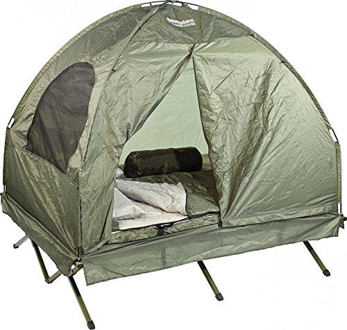 Semptec Urban Survival Technology Zelt: 4in1-Doppelzelt mit Feldbett, 2 Sommer-Schlafsäcken und Matratze (Doppelfeldbett)