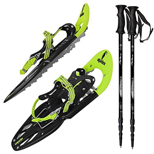 ALPIDEX Schneeschuhe 25 INCH Schuhgröße 38-45 bis 130 kg Steighilfe Tragetasche Optional Stöcke, Farbe:Lime mit Stöcken