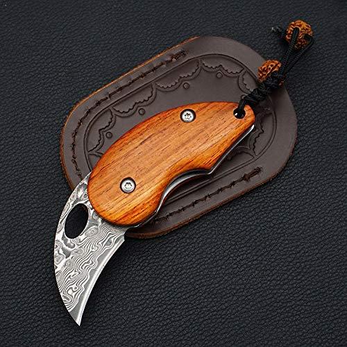NEDFOSS Zweihand - Messer EDC Messer, Damast Taschenmesser aus Japanischem Damaststahl, Klappmesser Holzgriff, mit Ledertasche