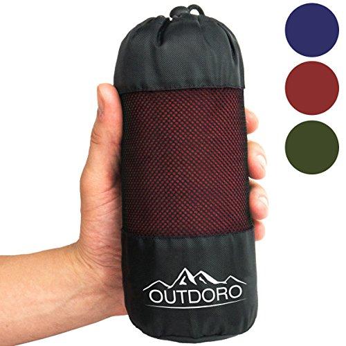 Outdoro Hüttenschlafsack, Ultra-Leichter Reise-Schlafsack - nur 350 g aus Reiner Baumwolle mit Kissen-Fach - dünn & klein