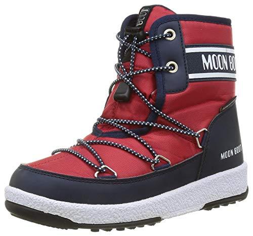 Moon-boot Jr Boy Mid Wp 2 Schneeschuh, Navy Blue/Red, 27 EU