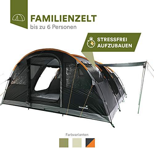 skandika Gotland 6 Personen Familienzelt mit eingenähtem Boden und 5.000 mm Wassersäule (grau/orange)