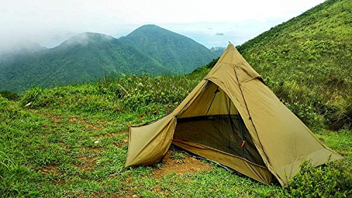 OneTigris TIPINOVA Ultraleicht Pyramiden-Zelt Campingzelt für 2 Personen, Keine Zeltstangen   MEHRWEG Verpackung (Coyote Braun)