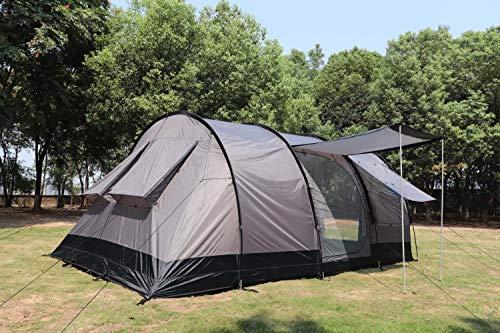 MK Outdoor Campingzelt für 4-5 Personen, Großes (475cm x 305cm x 207cm - LxBxH) Familienzelt mit 3 Eingängen und 5.000 mm Wassersäule, Tunnelzelt,grau, Gruppenzelt, Ideales Vorraumzelt!